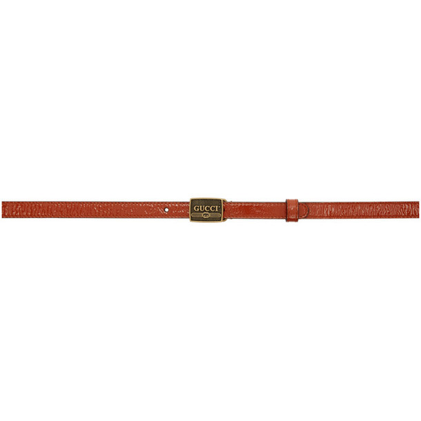 Gucci Orange Metal Buckle Belt