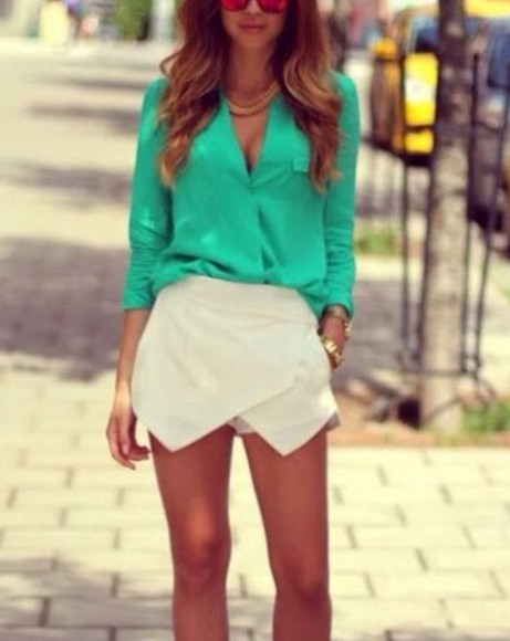 blouse fashion green blouse green skirt happy beauty