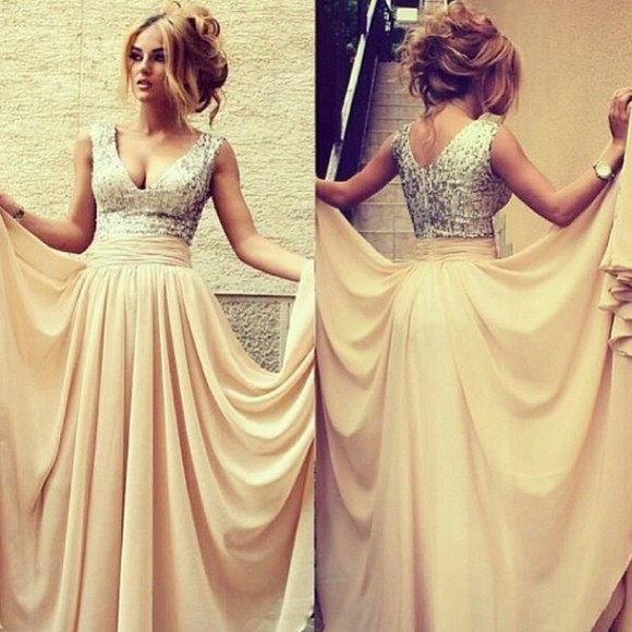dress prom dress ivory dress gold sequined long chiffon dress evening dress sexy pretty long prom dresses
