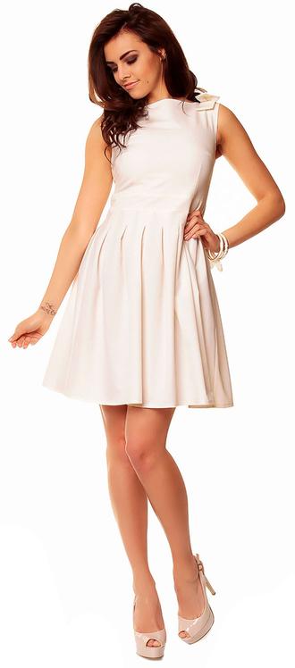 dress skater dress romantic dress bow detail ivory dress