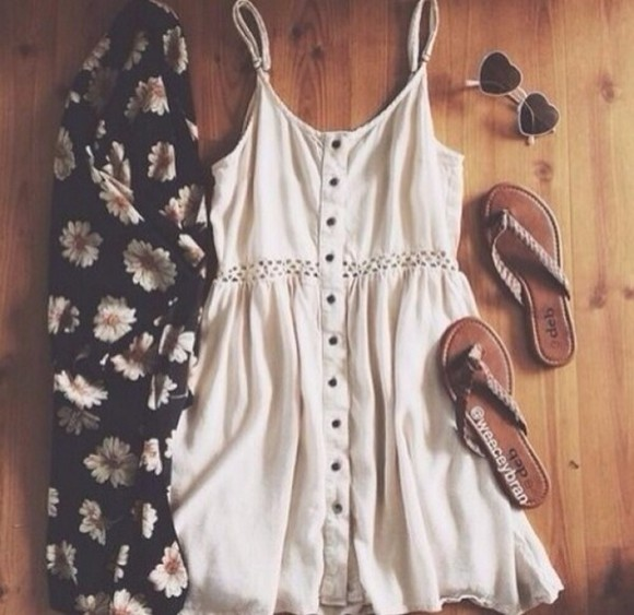 short buttons cream hipster boho dress sunglasses summer outfits style creamdress spring cardigan summer outfits white dress cut-out dress summer dress cute dress kimono sandals