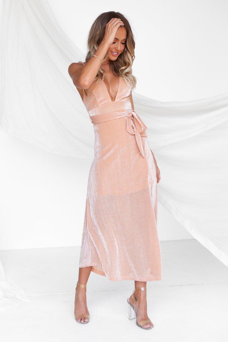 Enchanting Glow Maxi Dress (Champagne)