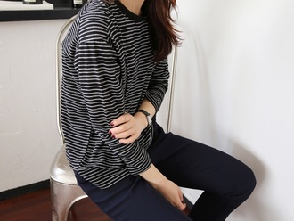 sweater stripes black white black and white black and white stripes hipster grunge