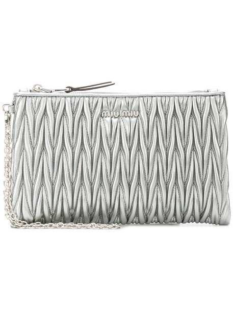 Miu Miu zip women pouch leather grey metallic bag