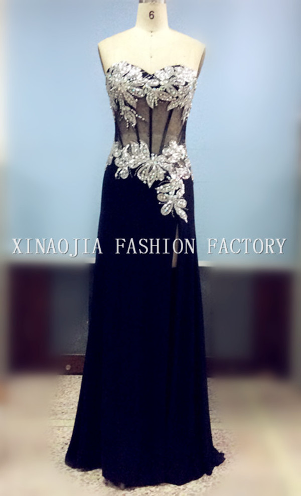 black mermaid prom dresses chiffon evening dresses 2014 long prom dresses floor length dress