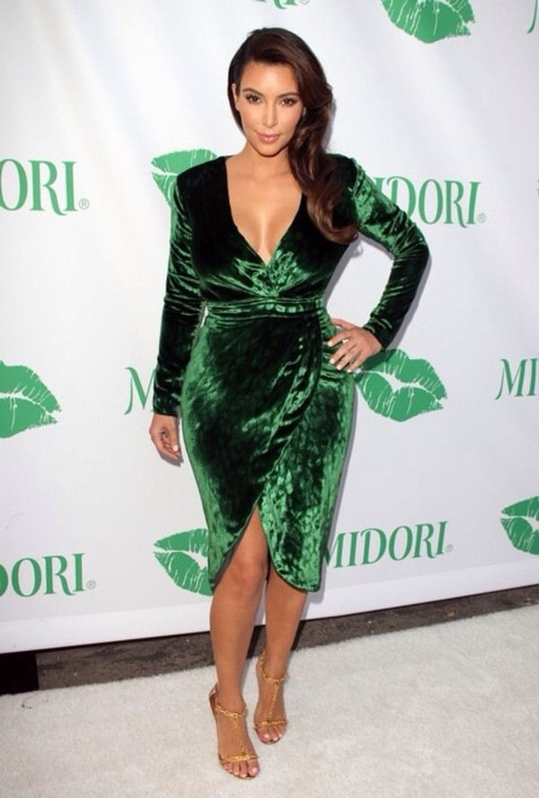 Dress Green Velvet Bodycon Wrap Over Kim Kardashian Dress