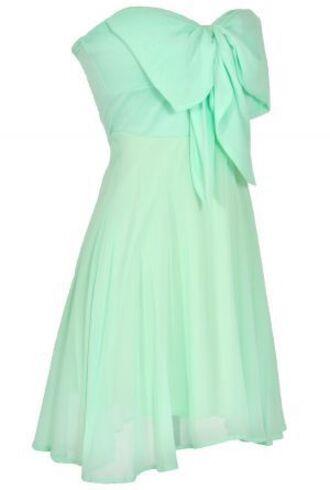 dress mint chiffon bow flowy summer short dress sundress strapless cute elegant lovely