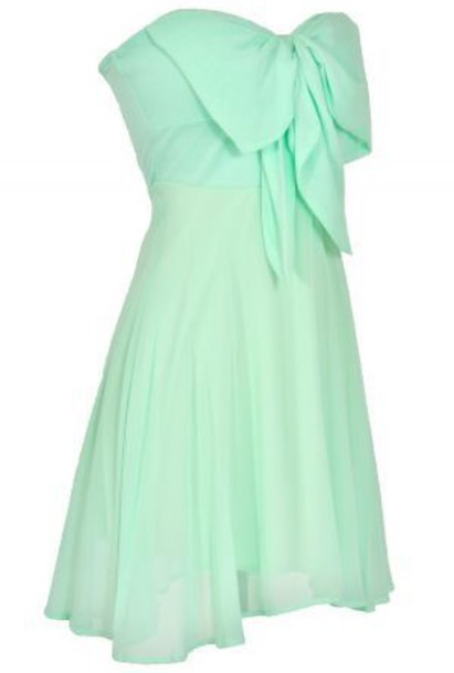 Dress: mint, chiffon, bow, flowy, summer, short dress, sundress ...