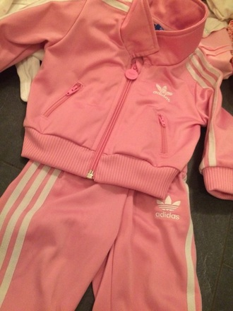 jacket college pink white baby adidas
