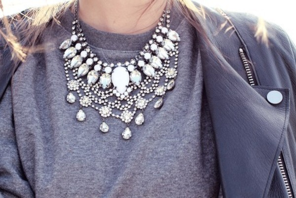 jewels necklace jewelry silver jacket coat statement necklace
