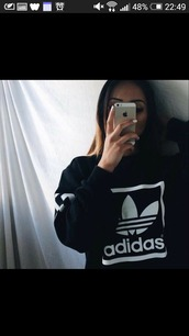 sweater,adidas sweater,adidas,black,black sweater,iphone,black and white,jacket,white,logo,sweatshirt,pullover,exactly the same as this one