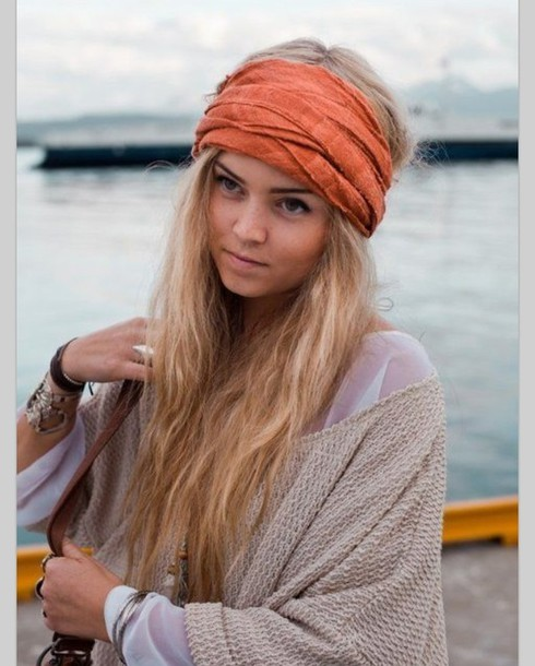 scarf headband turban indie boho chic hippie hippie chic tumblr vintage  burnt orange hair accessory 2d5d399b53c