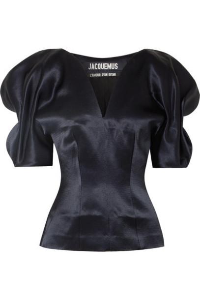 Jacquemus blouse blue satin top