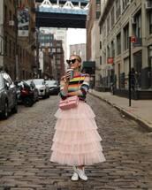 skirt,midi skirt,wrap ruffle skirt,tulle skirt,white sneakers,crossbody bag,heart sunglasses,sweater,striped sweater