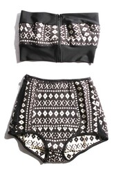 swimwear,black and white,pattern,aztec,strapless,high waisted,40's