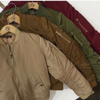 jacket tan brown green burgundy bomber jacket coat sweater top clothes fashion nude green jacket olive green red brown jacket all nude everything winter sweater winter coat winter jacket outfit fashionista