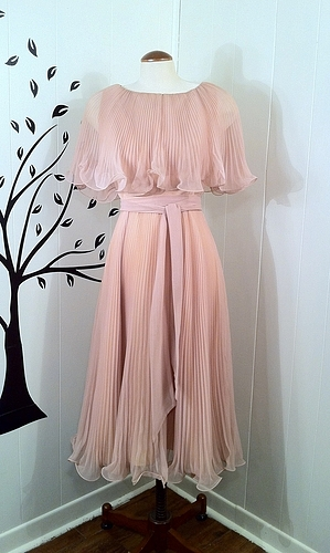 **sold** vintage 1960s honeysuckle chiffon pleated gown, miss elliette by slvintage on sense of fashion