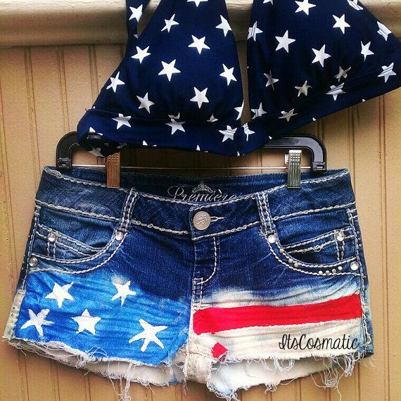 American flag shorts  custom order by itscosmatic on etsy