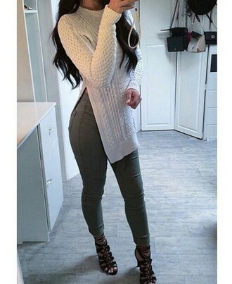 sweater jumper polo sweater cream sweater jeans