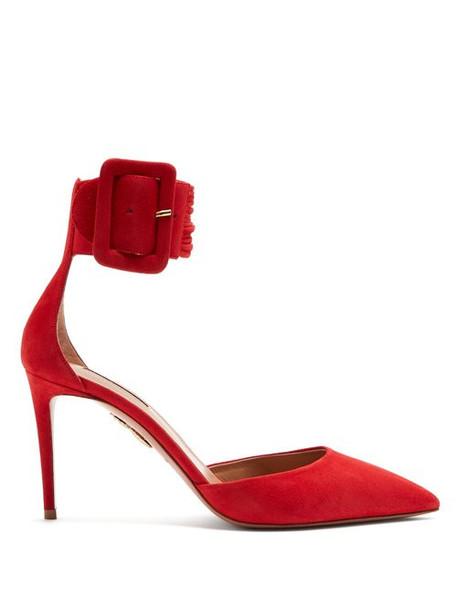 Aquazzura - Casablanca 85 Suede Pumps - Womens - Red