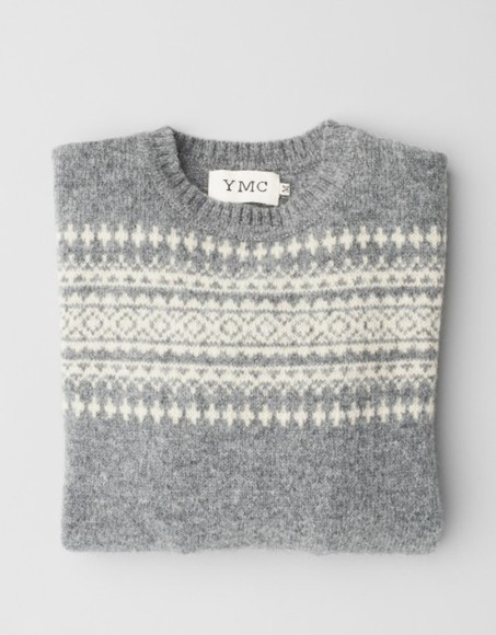white sweater ymc grey pattern