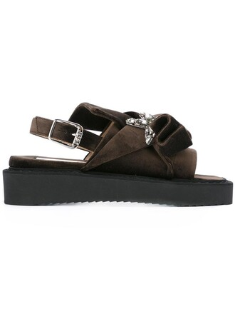 bow women sandals velvet brown shoes