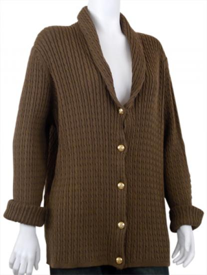 Brown shawl collar cable knit cardigan