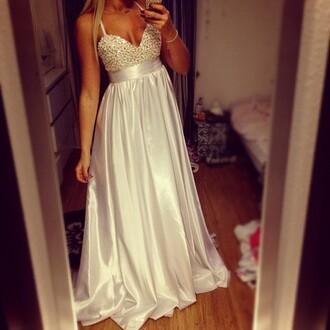 dress prom bedazzled prom dress white dress diamantes sparkle silk lilac silver straps pretty cleavage crystal diamonds silver dress