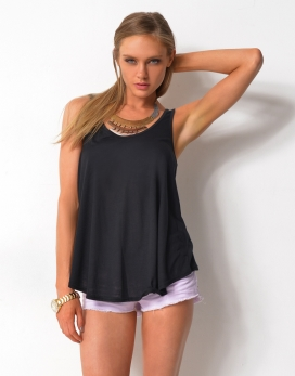 LOOSE FIT SINGLET TOP - LOOSE FIT SINGLET TOP WITH CURVED HEMLINE - Plain Fashion Tops