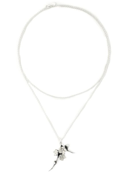 SHAUN LEANE cherry long women necklace pendant silver grey metallic jewels