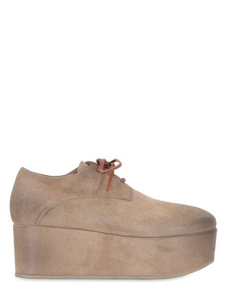 shoes platform shoes lace suede tan
