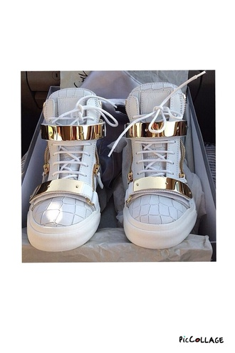 shoes white shoes gold and white sneakers alligator skin print skin white leather faux dope shoes