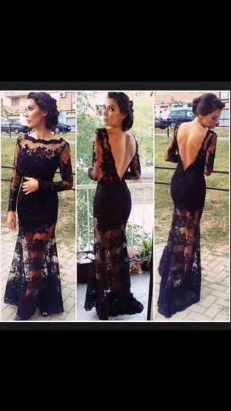 dress black dress lace dress backless dress long sleeves black lace dress long prom dress long dress
