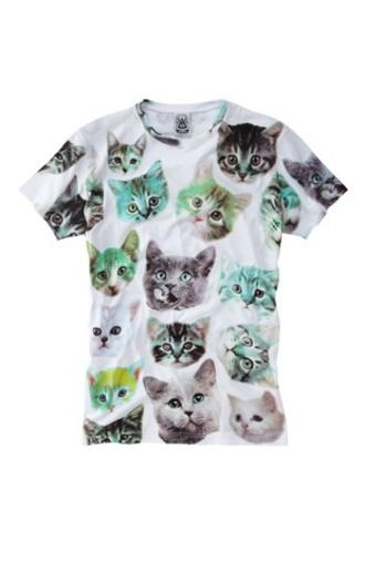 t-shirt cats girlcore kitten print