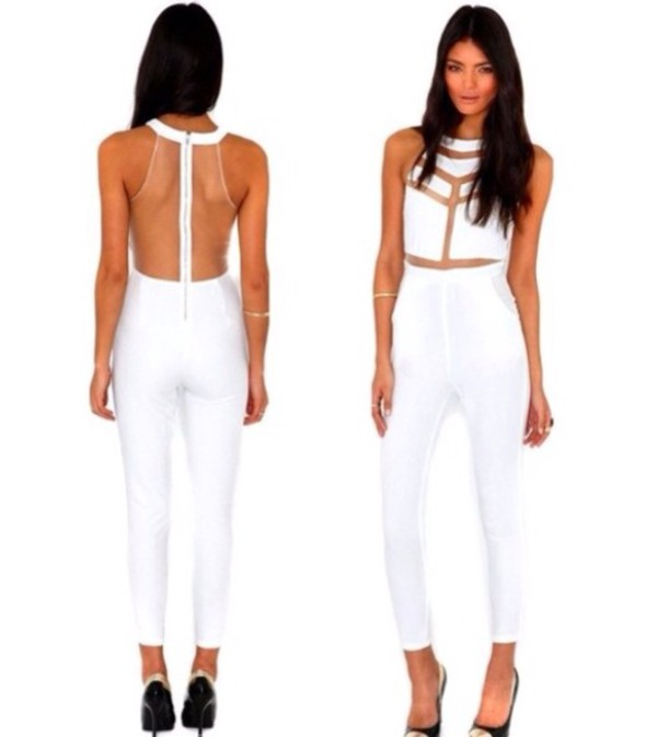 jumpsuit white mesh jumpsuit mesh see through pantsuit romper