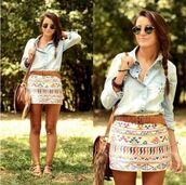 skirt,aztec skirt,clothes,shirt,t-shirt,mini skirt,patterned skirt