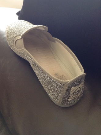 shoes silver flossy style flossy toms glitter shoes loafers slip on shoes