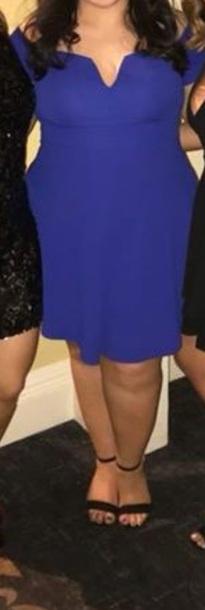 dress blue off the shoulder