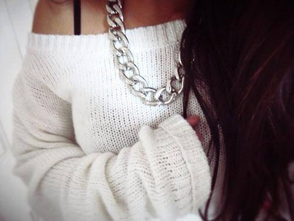 jewels jewelry pullover silver necklace sweater