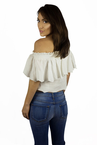 top white girly summer beach spring off the shoulder feminine free vibrationz