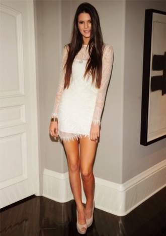 dress long sleeve lace dress lace dress long sleeves mini dress long sleeve dress white dress bodycon dress sexy dress clubwear club dress party dress platform pumps peep toe pumps pumps kendall jenner celebrity style celebrity model