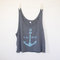 Be wild and free anchor tank top - dark grey with light blue - women's medium - summer tank top - sorority tank top