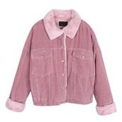 coat,girly,pink,button up,fur,fur coat,fur jacket,faux fur,faux fur jacket,faux fur coat,corduroy,corduroy fashion