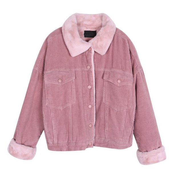 coat girly pink button up fur fur coat fur jacket faux fur faux fur jacket faux fur coat corduroy corduroy fashion