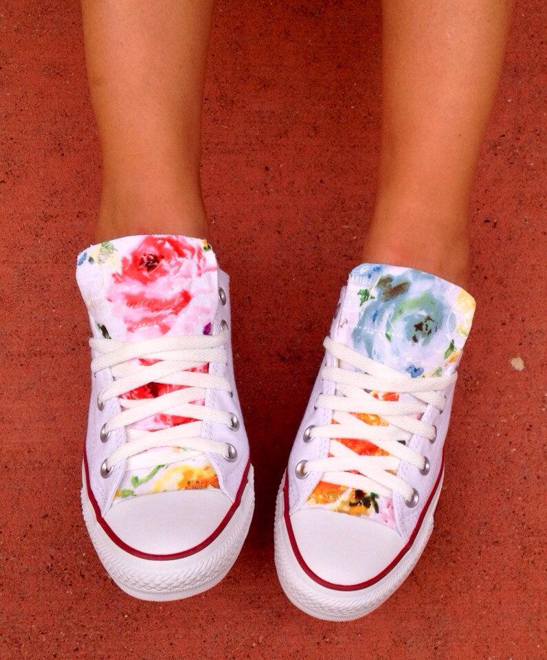 Custom floral converse chuck taylor shoes