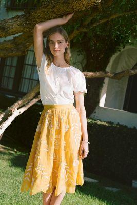 Vineland Embroidered Midi Skirt