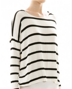 Stripe knitted high low shirt