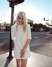 dress,half,white dress,grunge,white,soft grunge,indie rock,blonde hair,blonde model,blonde chick,rock,half-sleeves,pockets,pocket dress,boxy,platinum hair