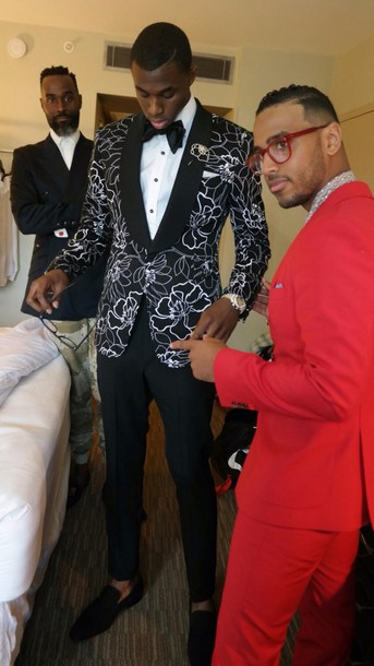 jacket andrew wiggins draft day black and white suit menswear flowers prom menswear