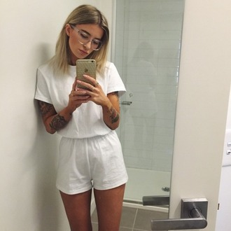 jumpsuit white jumpsuit summer fashion romper all white everything